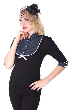 SugarShock Leni Retro Nadelstreifen  Rockabilly Longsleeve 3/4 Arm Shirt – Bild 1