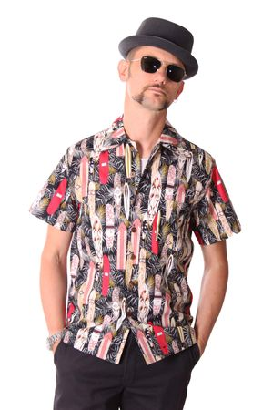 FINE49 retro Kahekili Surfboard Hawaii Blüten Hemd Hawaiian Shirt