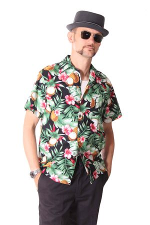 FINE49 retro Coconut Hawaii Blüten Hemd Kahekili Hawaiian Shirt