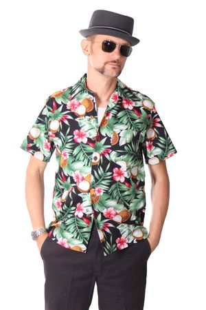 FINE49 retro Coconut Hawaii Blüten Hemd Kahekili Hawaiian Shirt – Bild 2