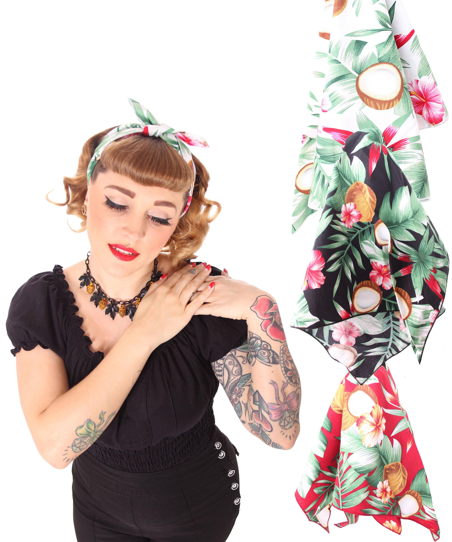 50s Frisuren Coconut Hawaii Flower Retro Nickituch Hairband Haar Tuch Bandana V Sugarshock