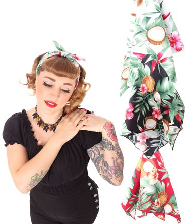 50s Frisuren Coconut Hawaii Flower retro Nickituch Hairband Haar Tuch Bandana v. SugarShock – Bild 1