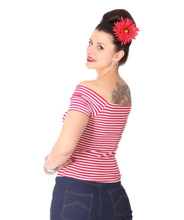 SugarShock Ranja 50s retro Pin Up Streifen Sailor Shirt – Bild 11