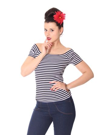 SugarShock Ranja 50s retro Pin Up Streifen Sailor Shirt – Bild 12