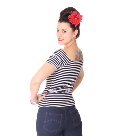 SugarShock Ranja 50s retro Pin Up Streifen Sailor Shirt – Bild 15