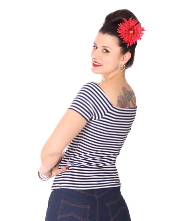 SugarShock Ranja 50s retro Pin Up Streifen Sailor Shirt – Bild 6