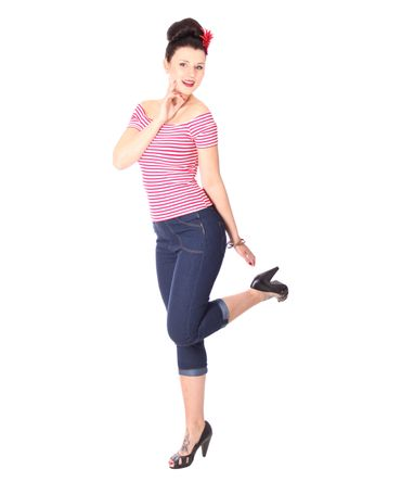 SugarShock Ranja 50s retro Pin Up Streifen Sailor Shirt – Bild 9