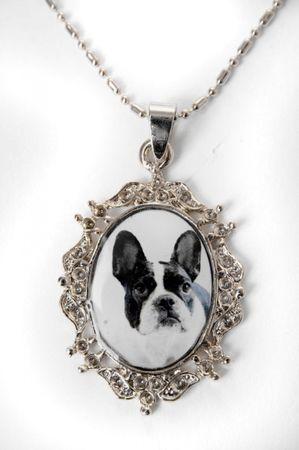 Französische Bulldogge Rockabilly Amulette Halskette – Bild 2