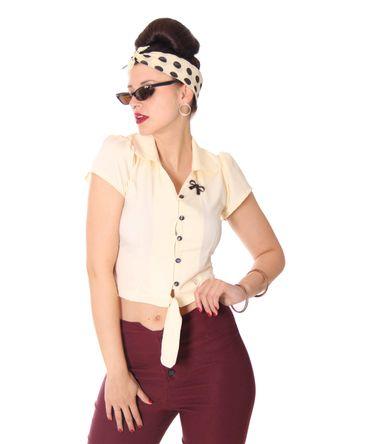SugarShock Reeva 50s Style retro Binde Bluse schlicht – Bild 1