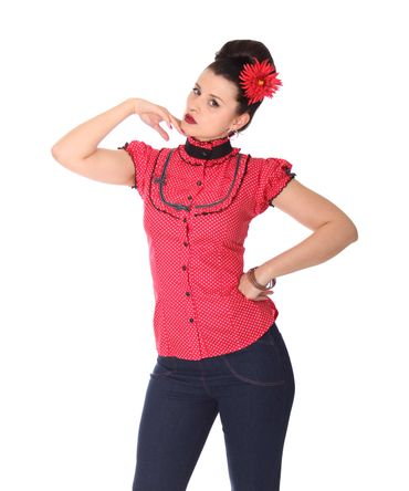 SugarShock Romina 50er Polka Dots Stehkragen Bluse