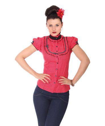 SugarShock Romina 50er Polka Dots Stehkragen Bluse  – Bild 2