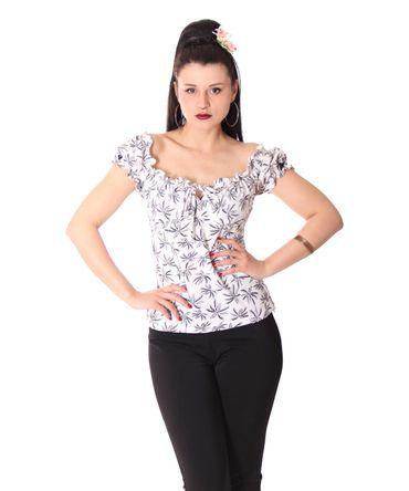 SugarShock Kailey 50er retro Palmen Carmen Shirt Puffärmel Bluse
