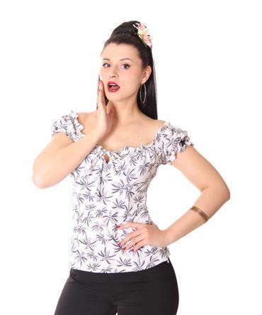 SugarShock Kailey 50er retro Palmen Carmen Shirt Puffärmel Bluse – Bild 3