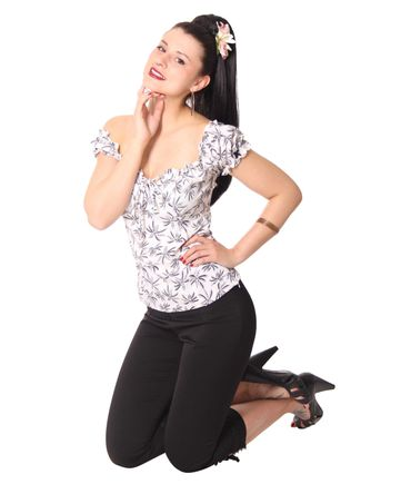 SugarShock Kailey 50er retro Palmen Carmen Shirt Puffärmel Bluse – Bild 7