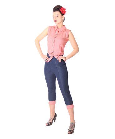 SugarShock Henja 50s Style retro Gingham Binde Bluse – Bild 6