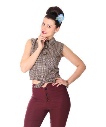 SugarShock Henja 50s Style retro Gingham Binde Bluse – Bild 11