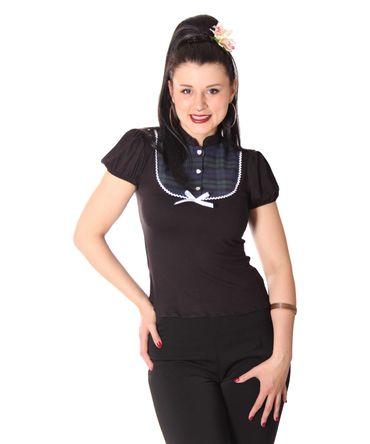 SugarShock Levke 50s retro Tartan Puffärmel Shirt