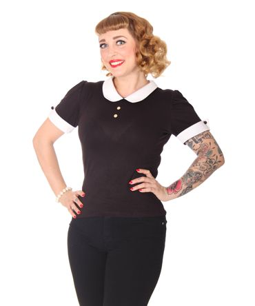 SugarShock Alivia French Maid Bubikragen retro T-Shirt