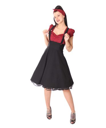 SugarShock Nita 50s Gingham retro Suspender Swing Kleid