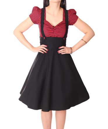 SugarShock Nita 50s Gingham retro Suspender Swing Kleid – Bild 3