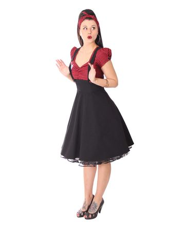 SugarShock Nita 50s Gingham retro Suspender Swing Kleid – Bild 2