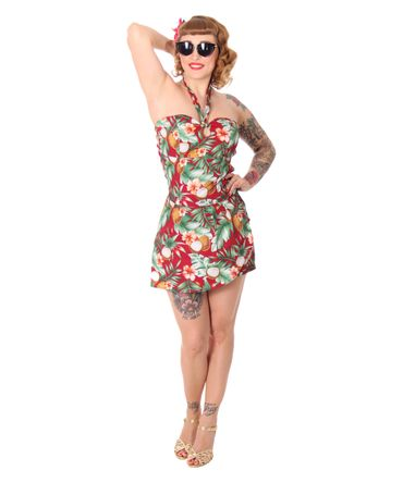 SugarShock Clara 50er retro Hawaii  Jumpsuit  – Bild 4