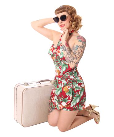 SugarShock Clara 50er retro Hawaii  Jumpsuit  – Bild 5