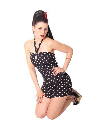 SugarShock Clara 50er retro Polka Dots  Jumpsuit  – Bild 7