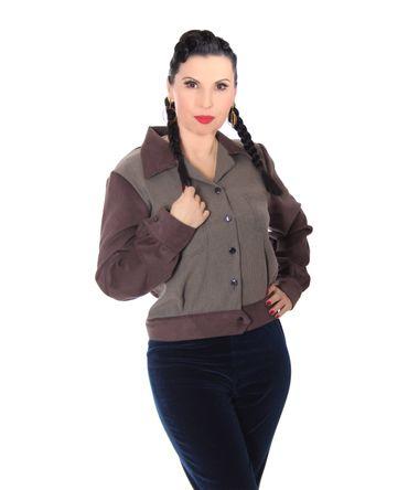 SugarShock Narona Jacke 40er Jahre vintage Style Houndstooth Blouson – Bild 1