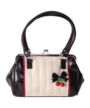 SugarShock Renita Kisslock 50s vintage Style Tuck n Roll Handtasche 2-tone – Bild 2