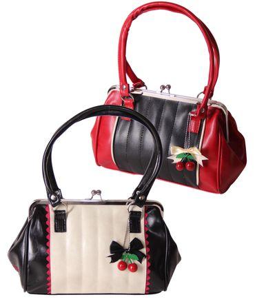 SugarShock Renita Kisslock 50s vintage Style Tuck n Roll Handtasche 2-tone