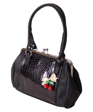 SugarShock Renita Kisslock 50s vintage Style Tuck n Roll Handtasche Kroko