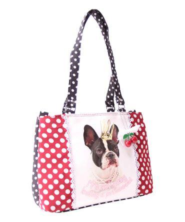 SugarShock Panlu Polka Dots French Bulldog Handtasche – Bild 2