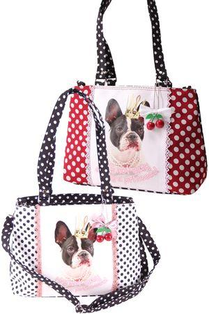SugarShock Panlu Polka Dots French Bulldog Handtasche – Bild 1