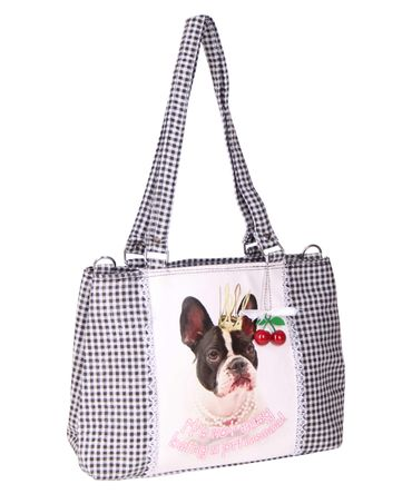 SugarShock Panlu Gingham French Bulldog Handtasche