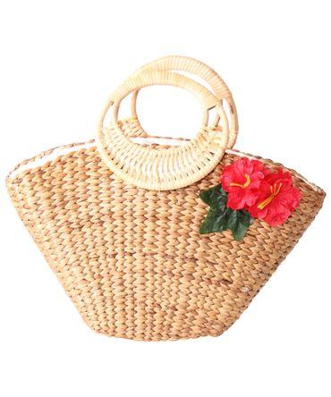 SugarShock Jasina 50s retro Hibiskus Blüten Bast Korbtasche  – Bild 2