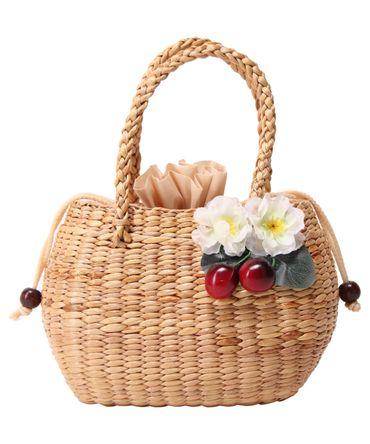 SugarShock Djamila 50s retro Kirschen Blüten Bast Korbtasche  – Bild 2