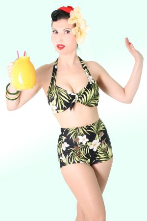 HAWAII Blüten Joanna 50er retro Pin Up Rockabilly Bikini – Bild 3