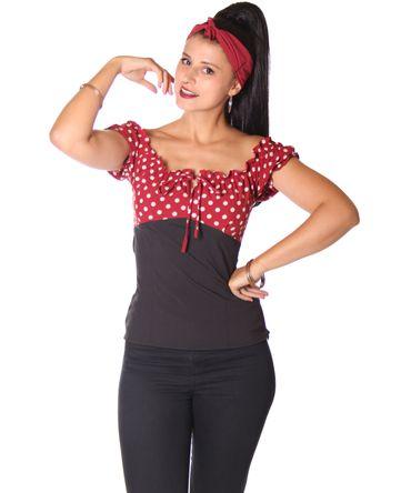 SugarShock Kailey Polka Dots Carmen 50s Bluse  – Bild 2
