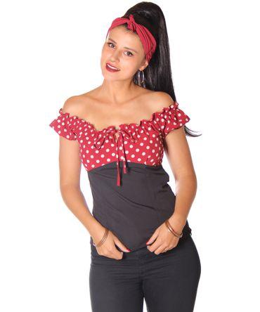 SugarShock Kailey Polka Dots Carmen 50s Bluse  – Bild 1