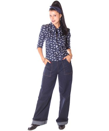 SugarShock Aharia Swallow 50s Schluppen Bluse  – Bild 6