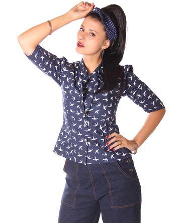 SugarShock Aharia Swallow 50s Schluppen Bluse  – Bild 1