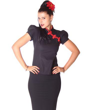 SugarShock Kanita Asia Geisha Style Bluse m. Knotenknöpfen – Bild 1