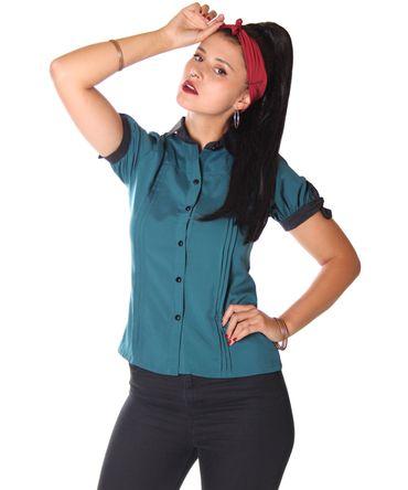 SugarShock Sabiha Bubikragen Bluse schlicht – Bild 1