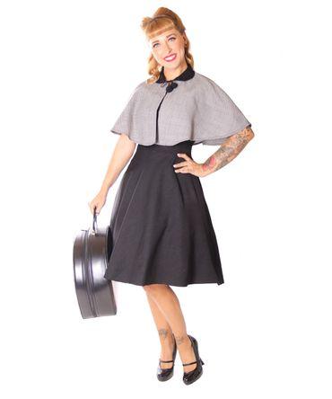SugarShock Lubia 50er Jahre Petticoat Kleid m. Houndstooth Cape
