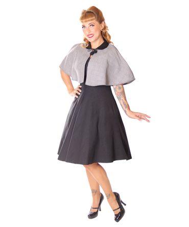 SugarShock Lubia 50er Jahre Petticoat Kleid m. Houndstooth Cape – Bild 2