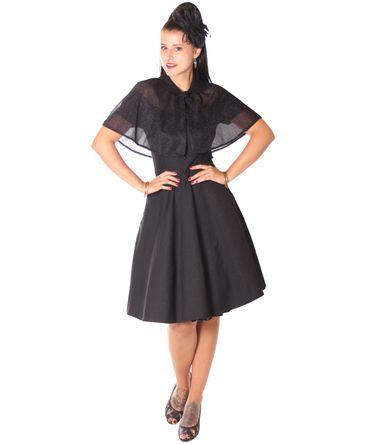SugarShock Lubia 50er Jahre Petticoat Kleid m. Glitter Cape Umhang