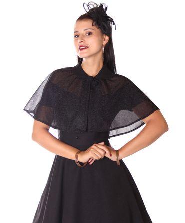 SugarShock Lubia 50er Jahre Petticoat Kleid m. Glitter Cape Umhang – Bild 10