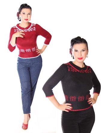 SugarShock Mirtha Weihnachtspulli 50s retro Christmas Gift Jumper