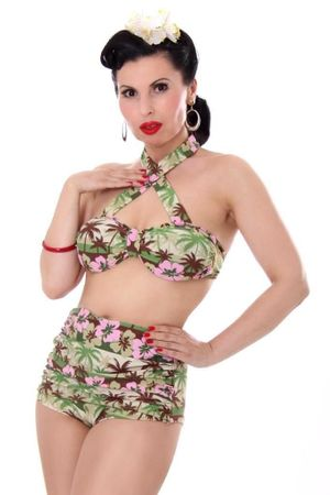 HAWAII Palmen PAMELA 50er retro Pin Up Rockabilly Hibiskus Bikini